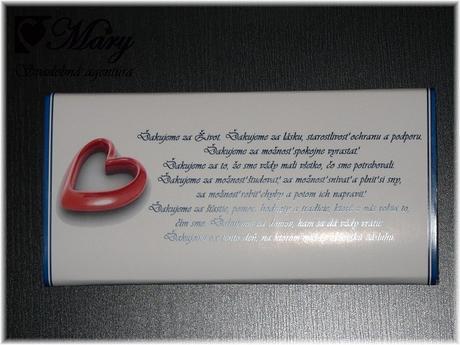 Čokoládka - poďakovanie rodičom,