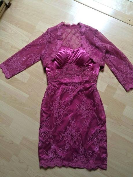 Originál šité pouzdrové šaty s krajkovým bolerkem, 38