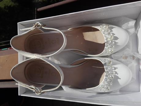Svatební bílé lodičky s perlami, 38