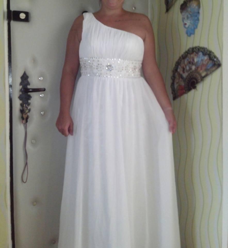 Svatební šaty antického stylu na jedno rameno e4fd1fa747