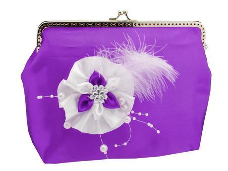 svatební kabelka fialová pro nevěstu s ozdobou,