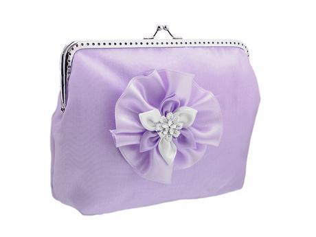 svatební kabelka pro nevěstu fialová s organzou ,