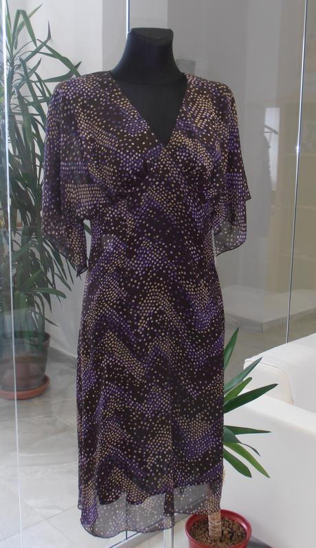 Hnedo - fialové šaty , 36