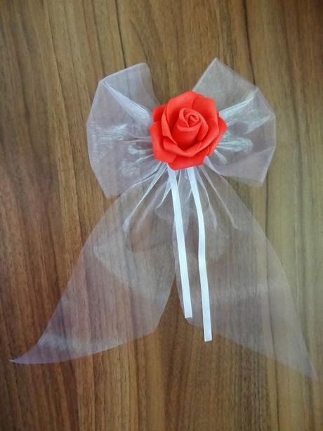 Mašle na kliky s růží-barva na přání,
