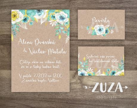Svatební oznámení Rustic Mint Flowers,