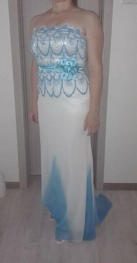 Spoločenské šaty bielo-modré s vlečkou, 38