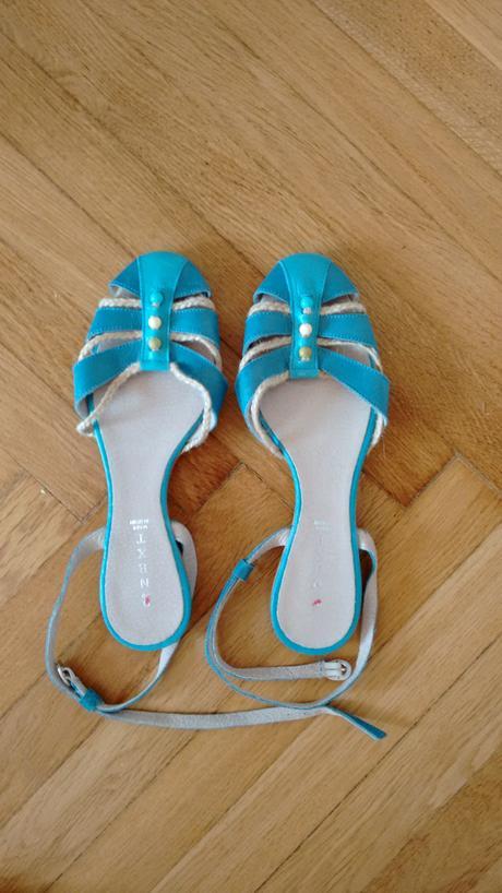 Modre sandaly vel.39, zdobene koralky, 39