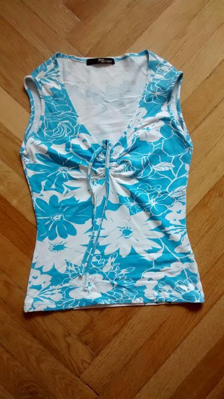 Tricko vel 36, tyrkysove modre, tisk kvetu, 36