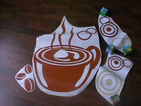 dekoračná nálepka na stenu šálka kávy,