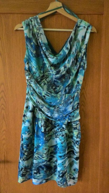 krátke tyrkysovo zeleno modré šaty veľ. 36, 36