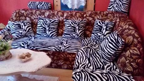 Vankuse s motívom zebra,