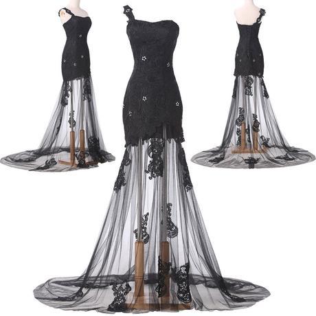 Černé krajkové společenské šaty, 38