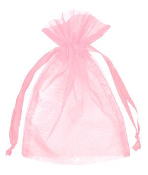 Růžové organzové pytlíčky,
