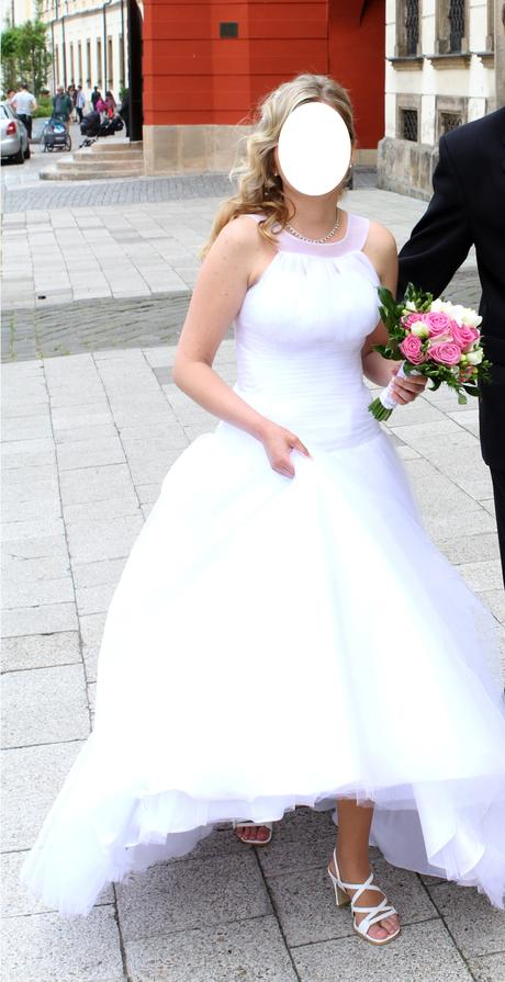 Tylové svatební šaty + dvoukruhová spodnice, 36