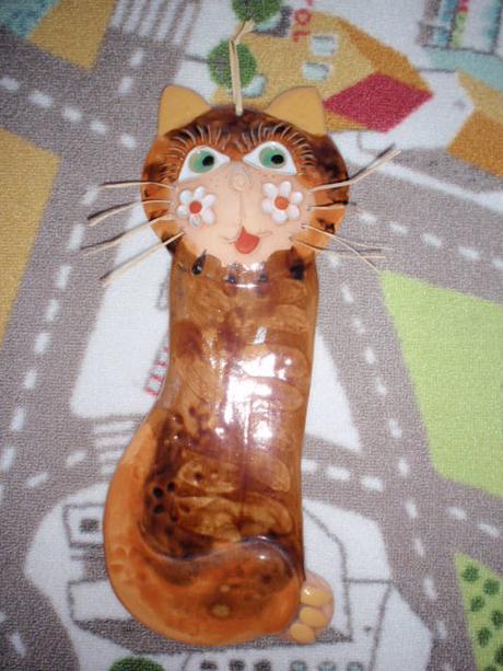 Dekorace keramika na stěnu Kočka,