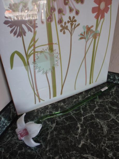 Skleněná kytka-kytička-květina-dekorace 34cm,