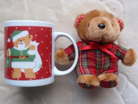 Vánoce-Vánoční Hrnek-Hrníček s plyšovým medvídkem,