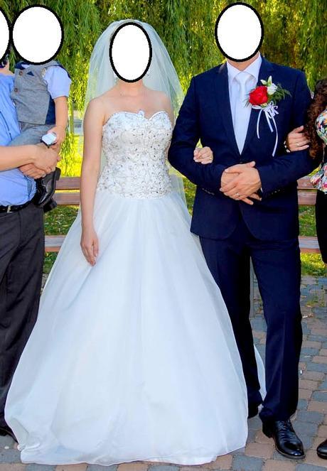 Svadobné šaty + 2 m závoj, 38