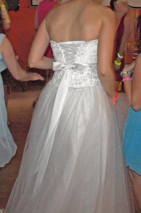 Svatební šaty s páskem a mašlí vel. 36-40, 40