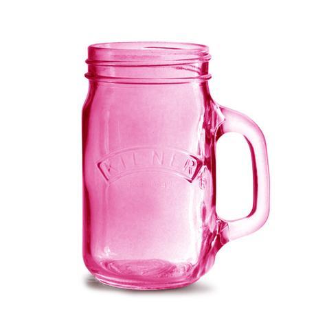 Kilner sklenice s uchem, 0,5 l - růžová,