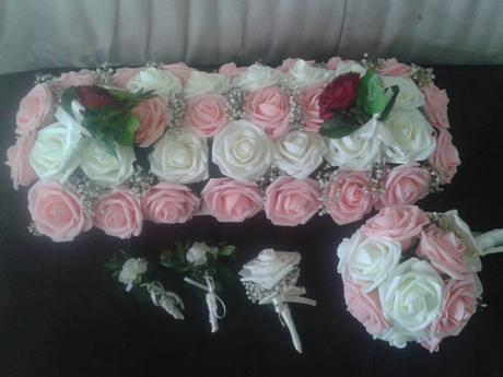 Bielo-ružový set kvetov,