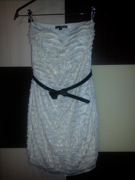 bielo-zlaté mini šaty Tally Weijl 34- 36, 34