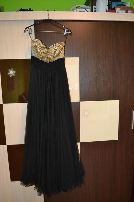 Zlato-čierne šaty Planet Paris 36- 38, S