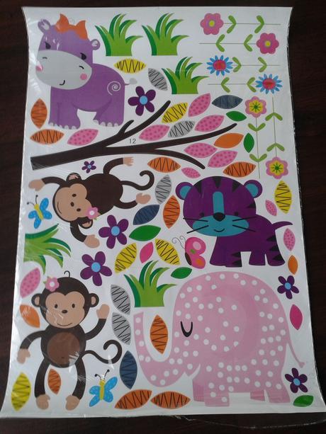Samolepka na zeď, strom, opičky, sloni, sovičky,