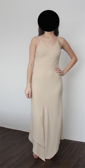 Společenské béžové šaty velikost cca 38. se šálkou 74954c48a0