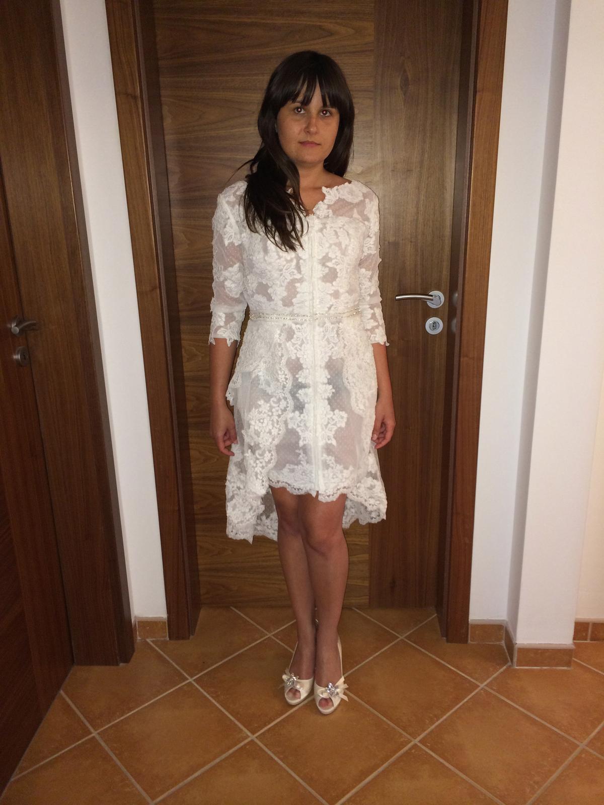 Letní krátké krajkové svatební šaty 34-36 60e86594de8