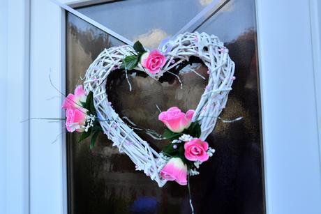 svadobné srdce bielo - ružové,