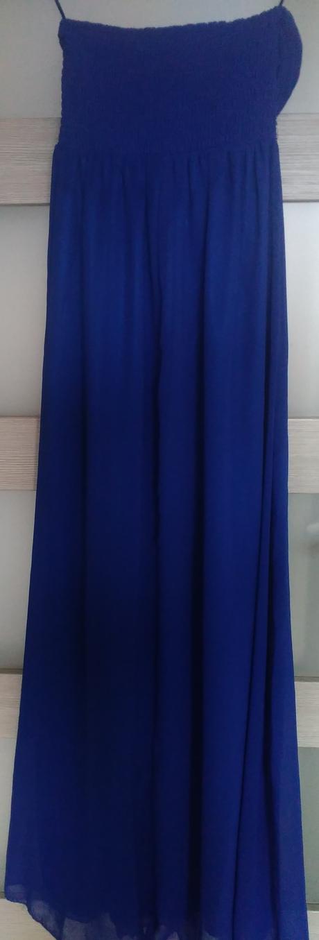 Dlhé modré šaty so striebornými kamienkami 36/38, 38
