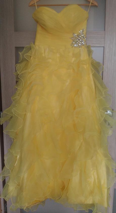 Dlhé žlté spoločenské šaty 36, 36