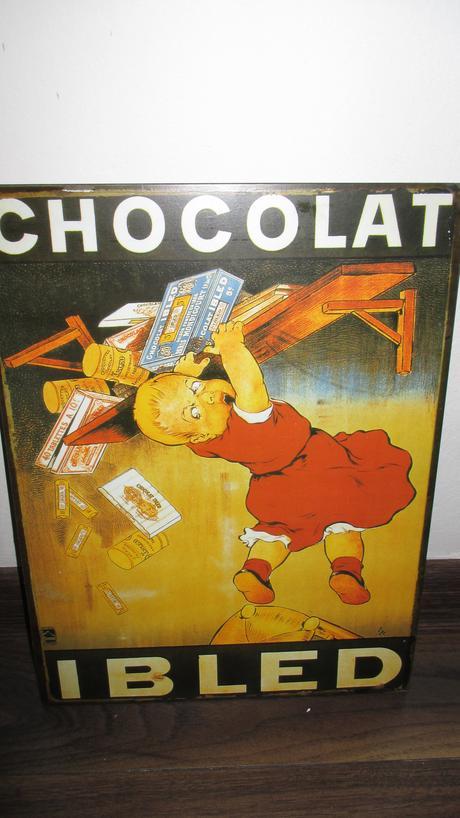 plechová zavesná tabula chocolat ibled,