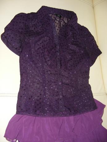 fialová lesklá blúzka, 39