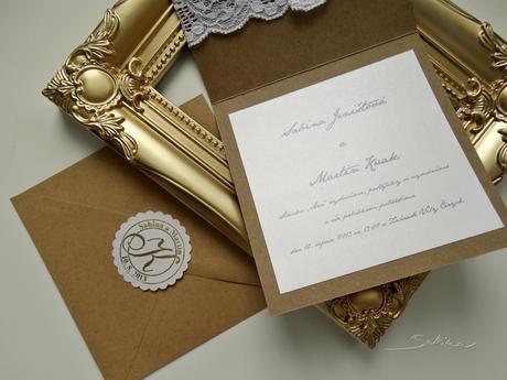 102 - Svatební oznámení Přírodní krajka,