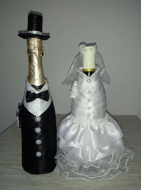 Ozdoba na fľaše vína - nevesta a ženích,