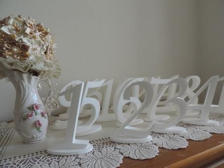 Biele čísla na svadobný stôl ,