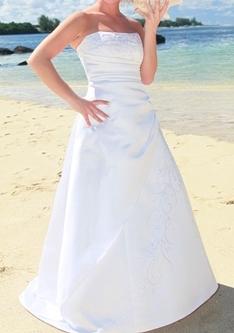 Saténové svatební šaty s perličkami, 38