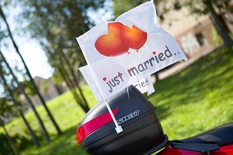 vlaječky na auto Just Married - velké,