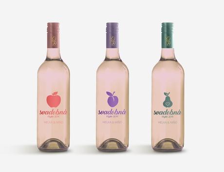 Etikety na svadobné fľaše,