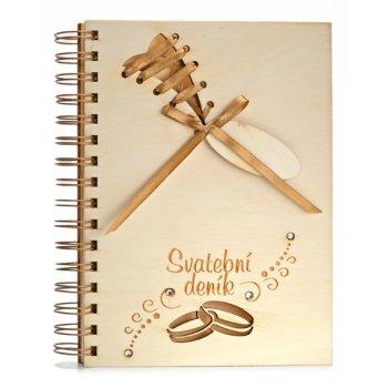 Svatební deník dřevěný,