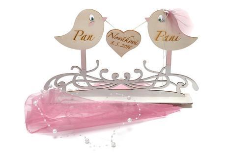 Svatební stojan ptáčci se srdíčkem,