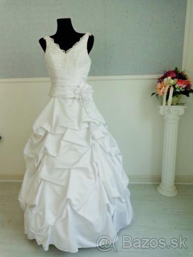 Svadobné šaty+obal na šaty+ramienko., 38