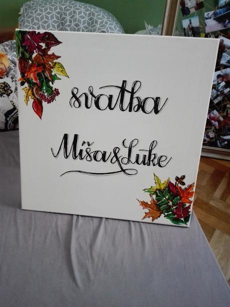 Obraz - označení svatby - Míša & Luke - podzim,