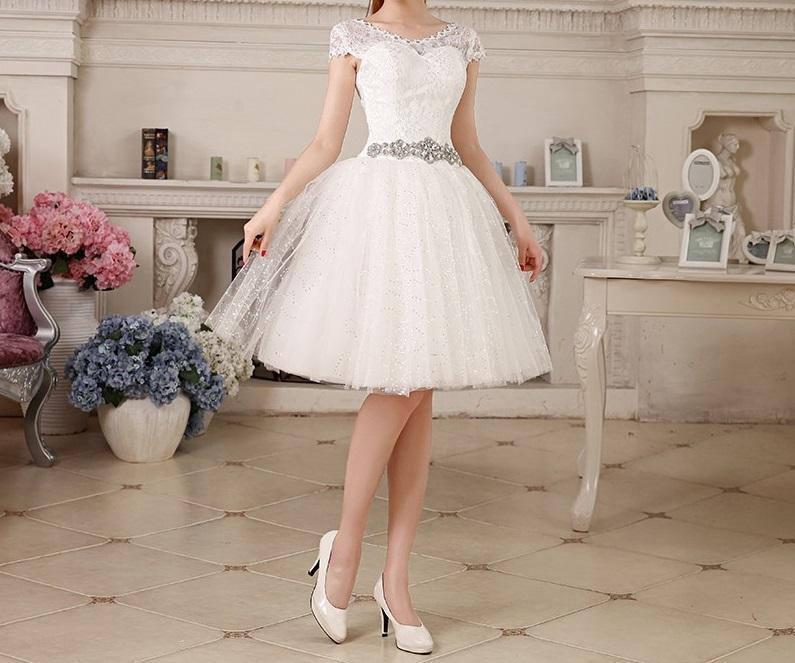 Krátke svadobné popolnočné šaty - 7 veľkostí b58136d0c9f