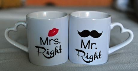 Porcelánové hrnčeky Mr. a Mrs.,