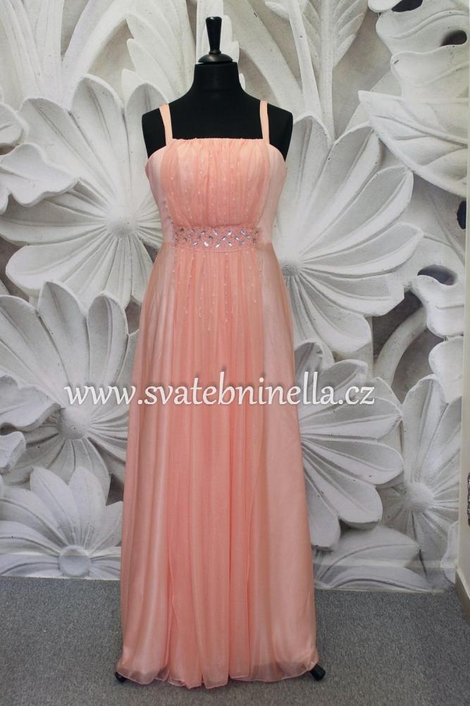 Dlouhé společenské plesové šaty lososové 598468884b