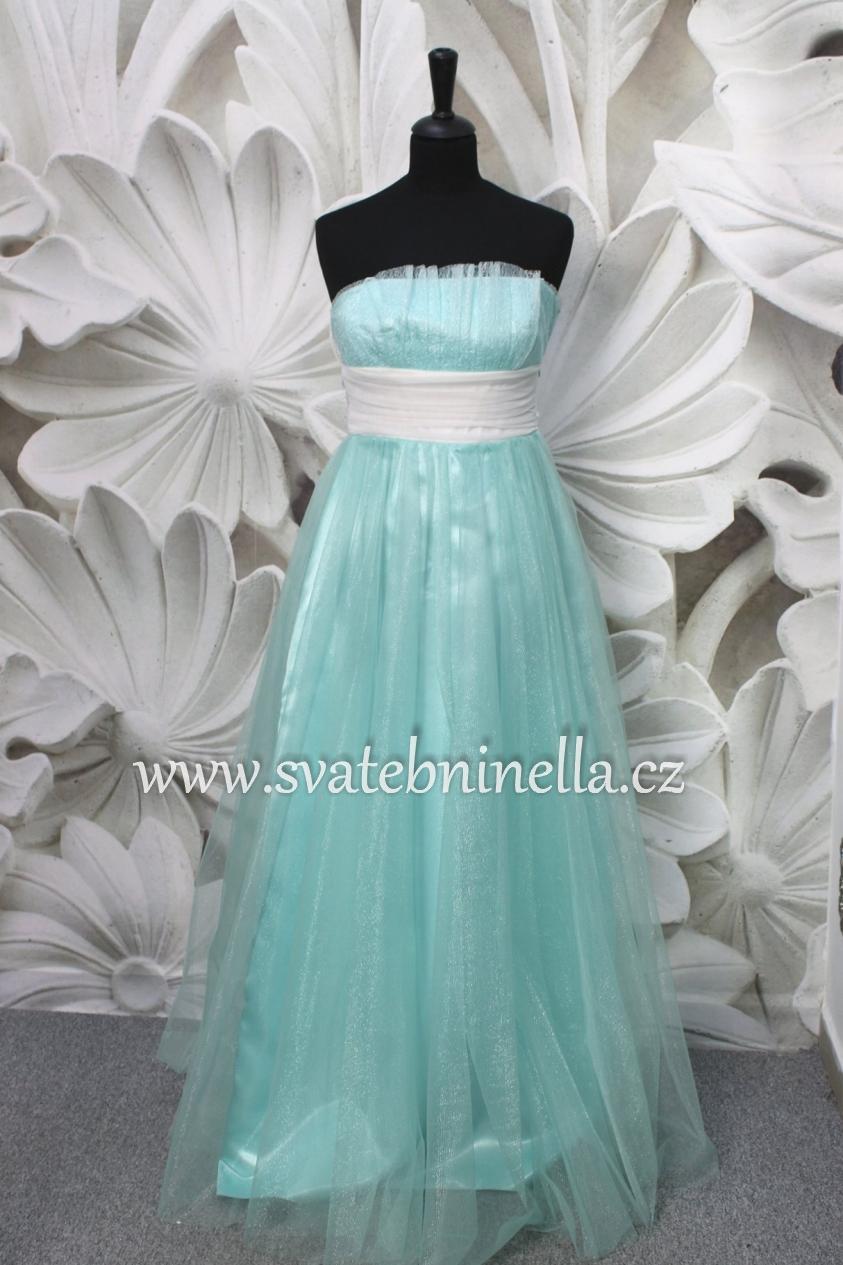 Dlouhé společenské plesové šaty mentolové mint a3db6e89f8