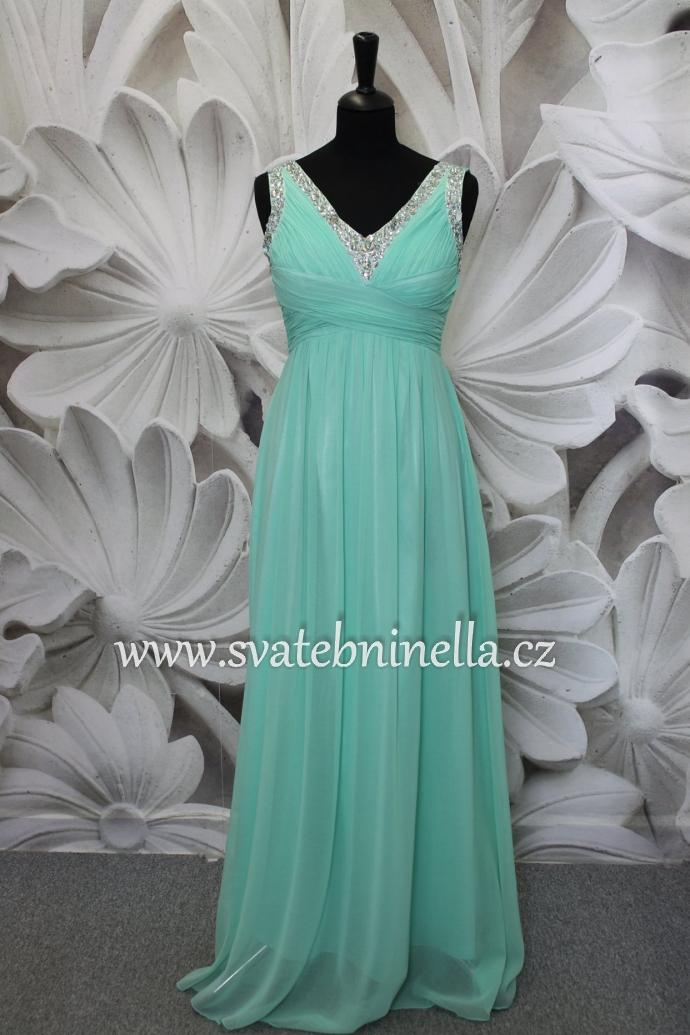 1ce459920888 Dlouhé společenské plesové šaty mentolové mint